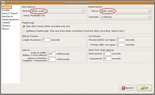 Il pannello di audacity con PulseAudio su Ubuntu 8.10